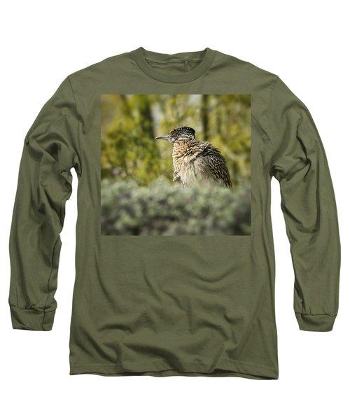 Roadrunner On Guard  Long Sleeve T-Shirt by Saija  Lehtonen