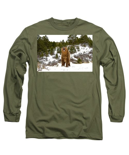 Roaring Grizzly In Winter Long Sleeve T-Shirt