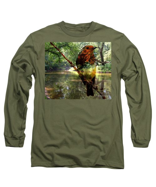 Long Sleeve T-Shirt featuring the photograph Robin By The River by Annie Zeno
