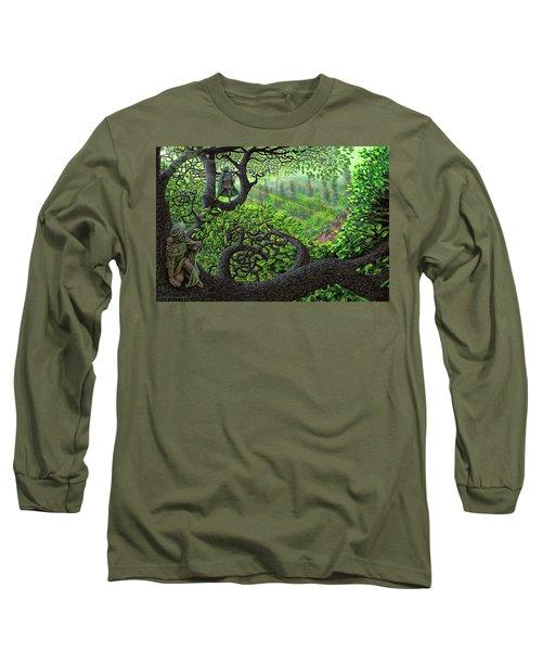 Long Sleeve T-Shirt featuring the painting Robin Hood by Dave Luebbert