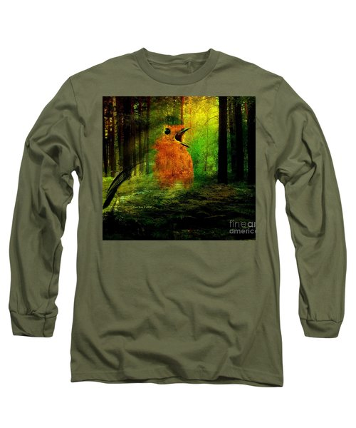 Long Sleeve T-Shirt featuring the photograph Robin In The Forest by Annie Zeno