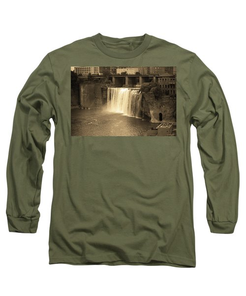 Long Sleeve T-Shirt featuring the photograph Rochester, New York - High Falls Sepia by Frank Romeo