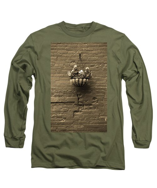 Long Sleeve T-Shirt featuring the photograph Rochester, New York - Wall And Flowers Sepia by Frank Romeo