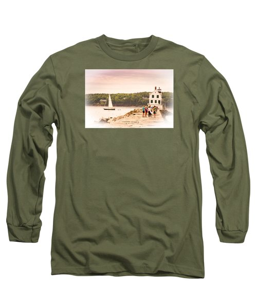 Long Sleeve T-Shirt featuring the photograph Rockland Breakwater by Paul Miller