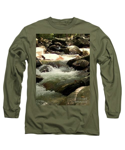 Long Sleeve T-Shirt featuring the mixed media Rocky Stream 4 by Desiree Paquette