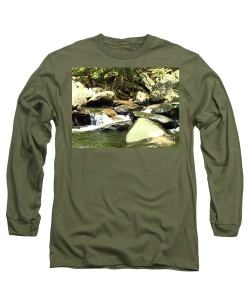 Long Sleeve T-Shirt featuring the mixed media Rocky Stream 5 by Desiree Paquette