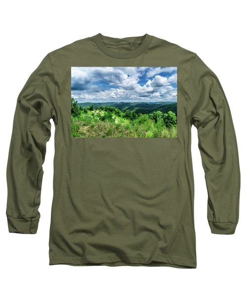 Rolling Hills And Puffy Clouds Long Sleeve T-Shirt