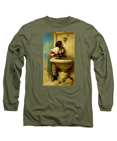 Roman Girl At A Fountain Long Sleeve T-Shirt