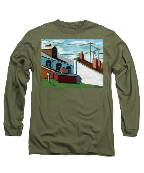 Long Sleeve T-Shirt featuring the painting Rooftops by Linda Apple