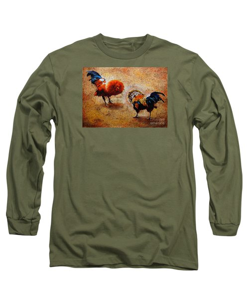 Roosters  Scene Long Sleeve T-Shirt by J- J- Espinoza