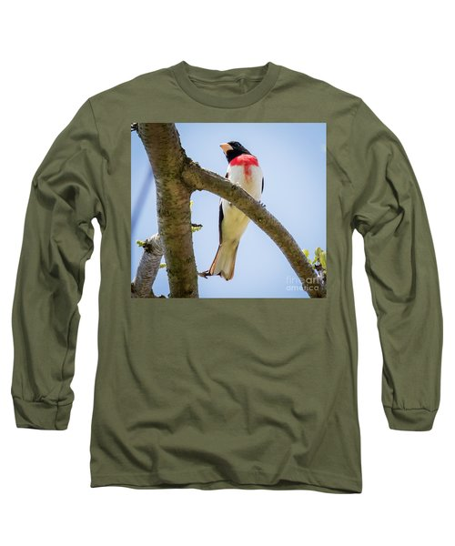 Long Sleeve T-Shirt featuring the photograph Rose-breasted Grosbeak Looking At You by Ricky L Jones