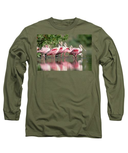 Roseate Spoonbill Flock Wading In Pond Long Sleeve T-Shirt