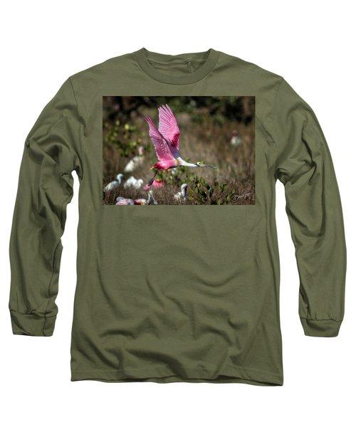 Roseate Spoonbill Flying Long Sleeve T-Shirt