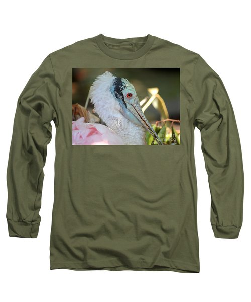 Roseate Spoonbill Profile Long Sleeve T-Shirt by Carol Groenen