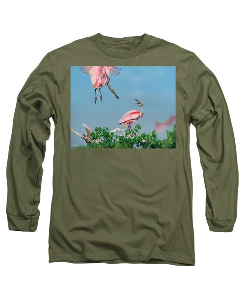 Roseate Spoonbills Long Sleeve T-Shirt by Tim Fitzharris