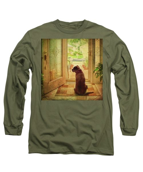 Long Sleeve T-Shirt featuring the photograph Rosebud At The Door by Lewis Mann