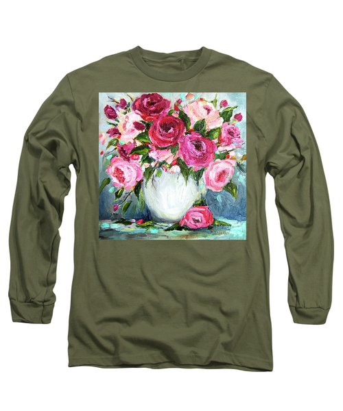 Long Sleeve T-Shirt featuring the painting Roses In Vase by Jennifer Beaudet