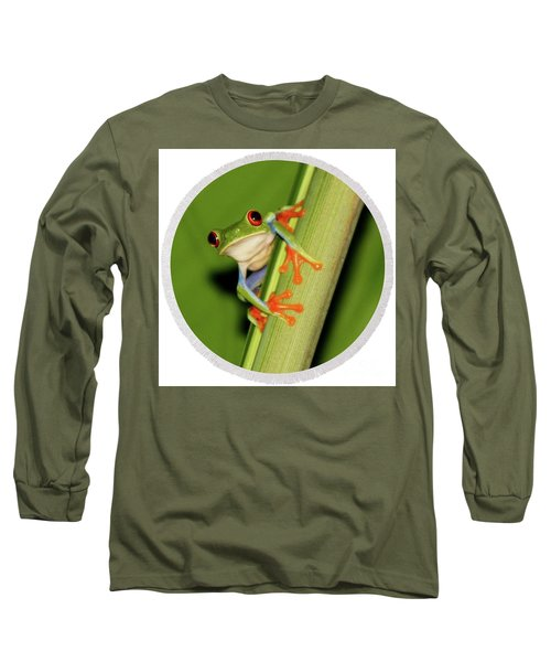 Round Towel Frog Long Sleeve T-Shirt by Myrna Bradshaw