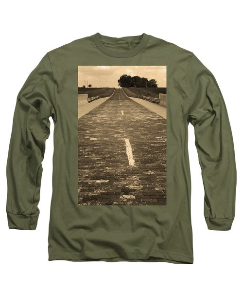 Long Sleeve T-Shirt featuring the photograph Route 66 - Brick Highway 2 Sepia by Frank Romeo