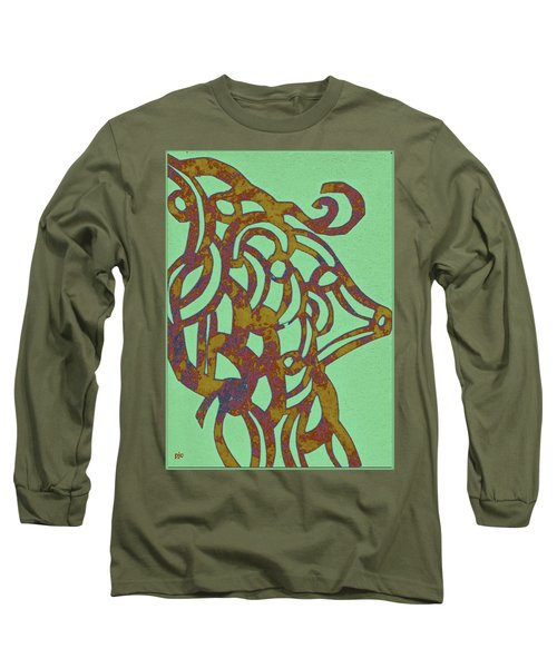 Long Sleeve T-Shirt featuring the mixed media Royal Sheep Cut Out by Patricia Cleasby