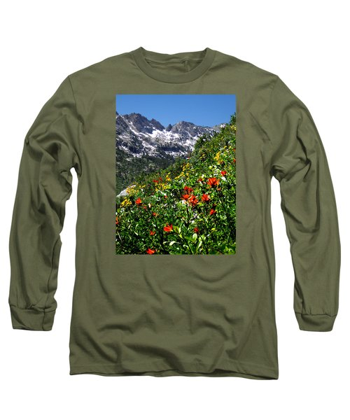 Ruby Mountain Wildflowers - Vertical Long Sleeve T-Shirt by Alan Socolik