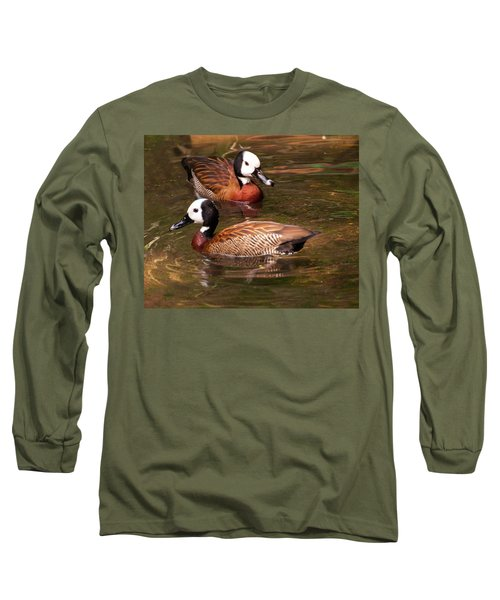 Long Sleeve T-Shirt featuring the digital art White-faced Whistling Duck by Chris Flees