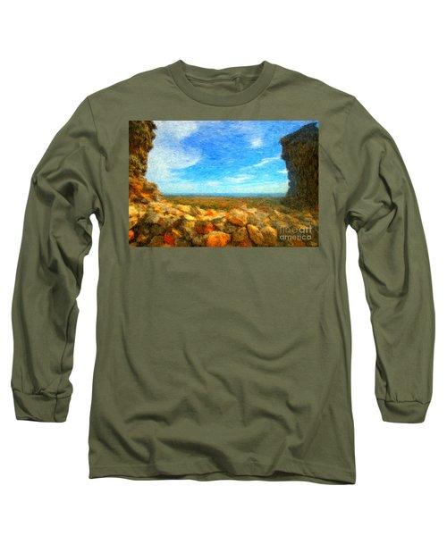 Ruins View Of Mediterranean Long Sleeve T-Shirt by Gerhardt Isringhaus