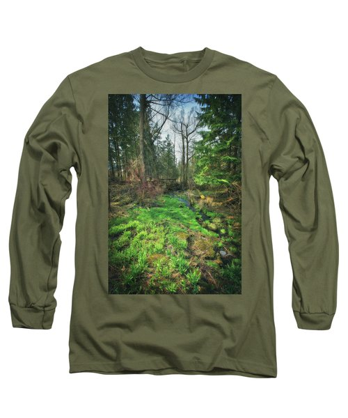 Running Creek In Woods - Spring At Retzer Nature Center Long Sleeve T-Shirt by Jennifer Rondinelli Reilly - Fine Art Photography