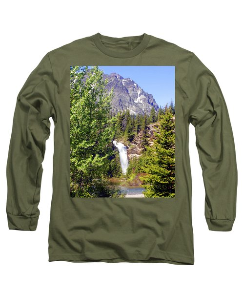 Running Eagle Falls Glacier National Park Long Sleeve T-Shirt