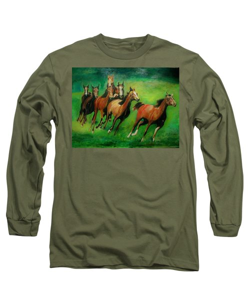 Running Free Long Sleeve T-Shirt by Khalid Saeed