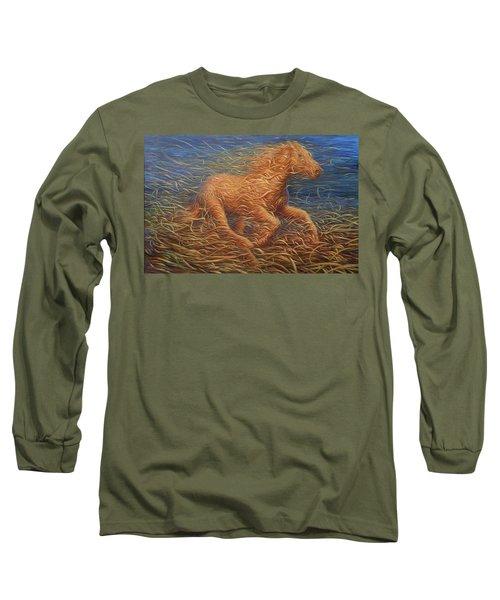 Running Swirly Horse Long Sleeve T-Shirt