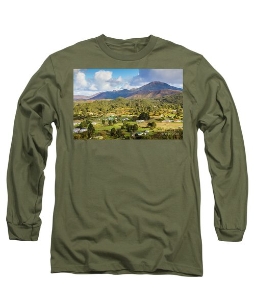 Rural Landscape With Mountains And Valley Village Long Sleeve T-Shirt