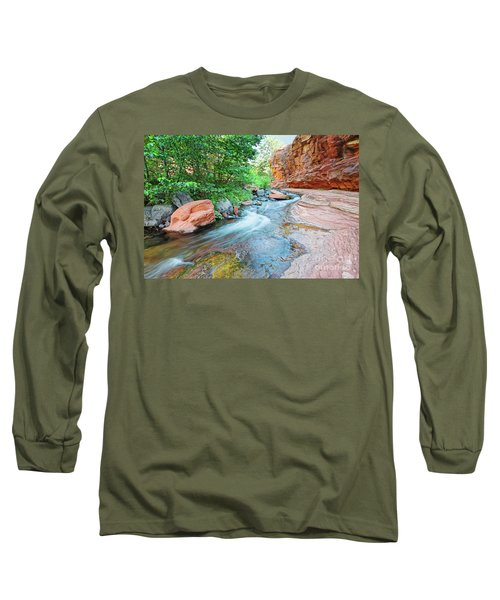 Rushing Waters At Slide Rock State Park Oak Creek State Park - Sedona Northern Arizona Long Sleeve T-Shirt