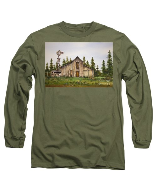 Long Sleeve T-Shirt featuring the painting Rustic Barn by James Williamson