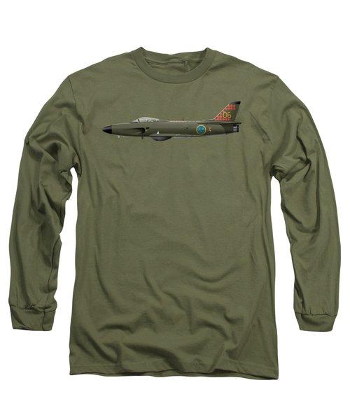 Saab J32d Lansen - 32606 - Side Profile View Long Sleeve T-Shirt