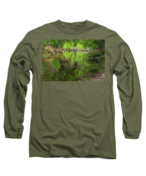 Long Sleeve T-Shirt featuring the photograph Sabino Reflection Op53 by Mark Myhaver