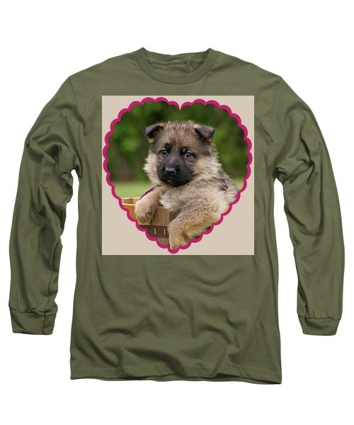 Long Sleeve T-Shirt featuring the photograph Sable Puppy In Heart by Sandy Keeton