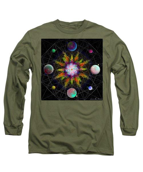 Sacred Planetary Geometry - Dark Red Atom Long Sleeve T-Shirt by Iowan Stone-Flowers