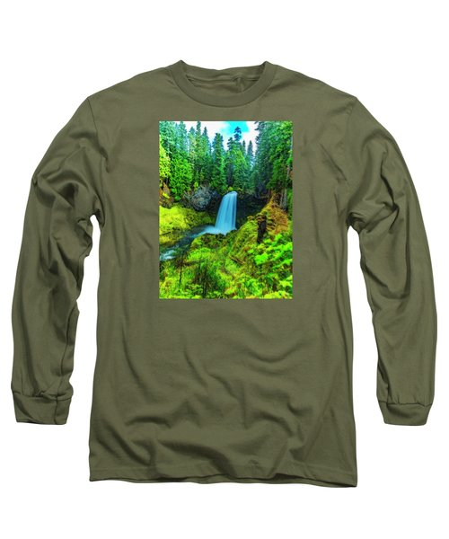 Long Sleeve T-Shirt featuring the photograph Koosa Falls, Oregon by Nancy Marie Ricketts