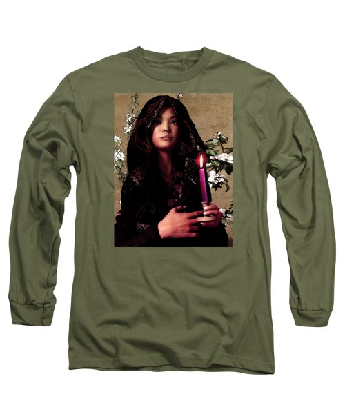 Saint Agnes Gui Ying Cao With Cherry Blossoms Long Sleeve T-Shirt by Suzanne Silvir