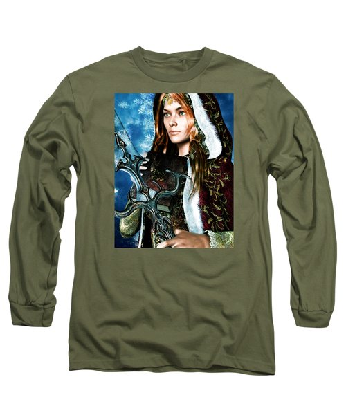 Long Sleeve T-Shirt featuring the painting Saint Dymphna 5 by Suzanne Silvir