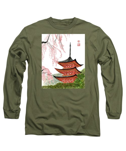 Sakura At Gojunoto Pagoda Long Sleeve T-Shirt