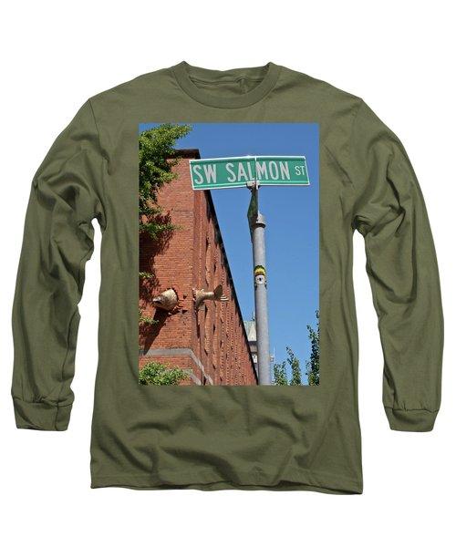 Salmon Through A Building Long Sleeve T-Shirt