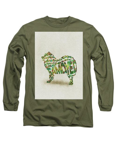 Long Sleeve T-Shirt featuring the painting Samoyed Watercolor Painting / Typographic Art by Inspirowl Design