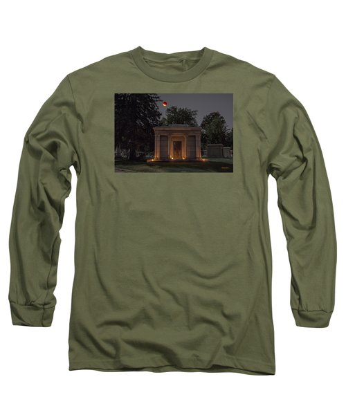 Samuel D. Nicholson Mausoleum Under The Blood Moon Long Sleeve T-Shirt by Stephen  Johnson