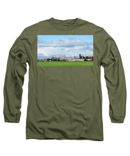 San Francisco Skyline From Crissy Field Long Sleeve T-Shirt by Mark Barclay