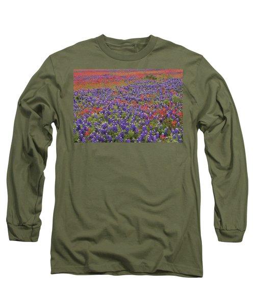 Sand Bluebonnet And Paintbrush Long Sleeve T-Shirt