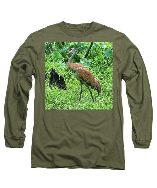 Sandhill Crane At Sandy Ridge Reservation Long Sleeve T-Shirt