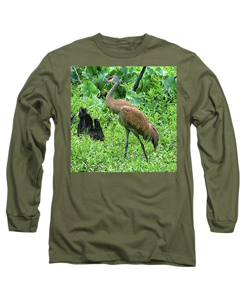 Sandhill Crane At Sandy Ridge Reservation Long Sleeve T-Shirt