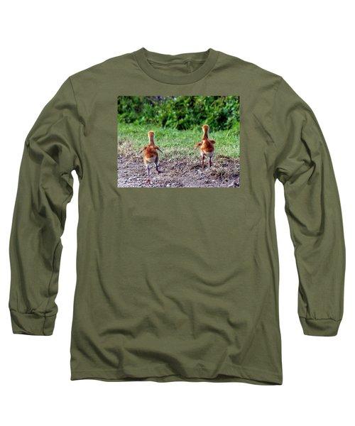 Long Sleeve T-Shirt featuring the photograph Sandhill Crane Chicks 000 by Chris Mercer